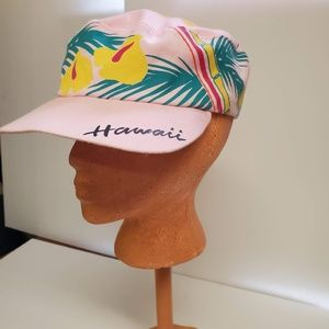 Vintage Hawaii Island Hat. Pink with Flowers